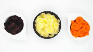 carota viola, gialla ed arancione